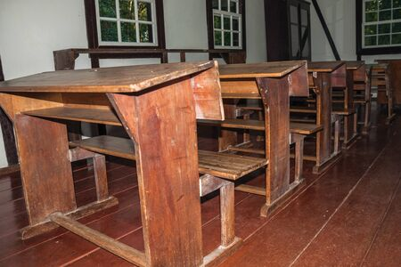 Nova Petropolis, Brazil - July 20, 2019. Historical reproduction of classroom from an old school at the Immigrant Village Park of Nova Petropolis. A lovely rural town founded by German immigrants.