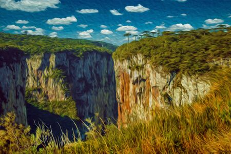 Itaimbezinho Canyon with steep rocky cliffs in a flat plateau covered by forest near Cambara do Sul. A small country town in southern Brazil with amazing natural tourist attractions. Oil Paint filter. Фото со стока