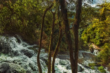 Waterfall falling over rocks running through lush forest at the Caracol Park near Canela. A charming small town very popular by its ecotourism in southern Brazil. Oil Paint filter. 스톡 콘텐츠