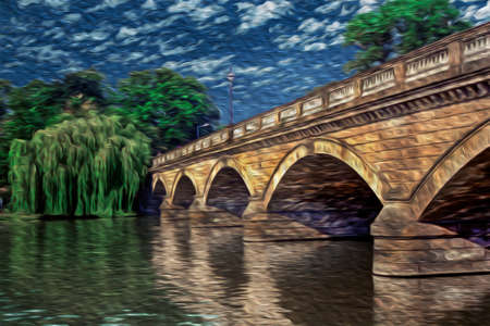 Bridge over lake and trees on the Hyde Park in a bucolic summer day of London. Capital of England and the United Kingdom, is also one of the most important cities of the world. Oil paint filter.