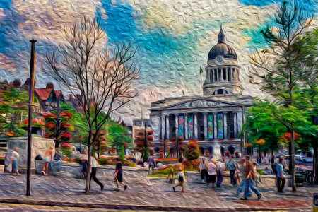 Square with pedestrians and the Council House on background, in a bucolic summer day at Nottingham. A city famous for its link to the Robin Hood legend, in central England. Oil paint filter. Standard-Bild