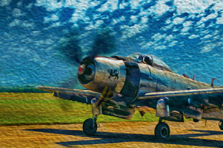Duxford, England - July 13, 1997. Second World War military aircraft taking off from runway at the Imperial War Museum of Duxford. The largest aircraft museum of Britain. Oil paint filter.