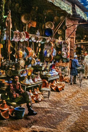 Marrakesh, Morocco - May 16, 1997. Salesman in his crockery shop waiting for buyers in the medina of Marrakesh. The exotic city at the Atlas Mountain range foothill in Morocco. Oil paint filter.