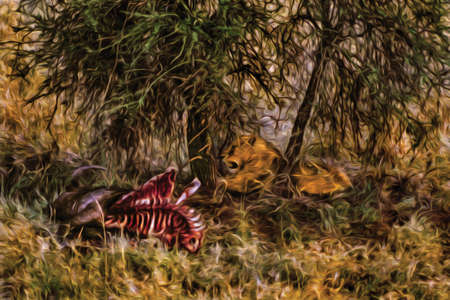Lion hidden in the green bush and carcass on the Serengeti National Park. A conservation area in the African savanna where several species of large mammals live. Oil paint filter.