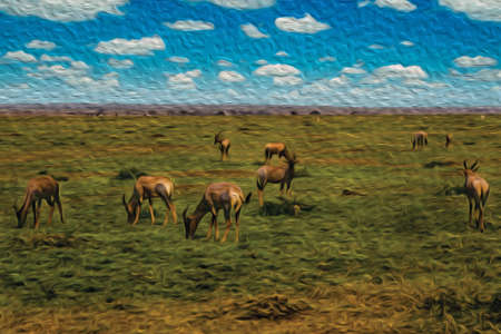 Herd of gazelles grazing on green pasture in the flat landscape of Serengeti National Park. A conservation area in the African savanna where several species of large mammals live. Oil paint filter.