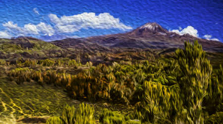 Secondary volcanic cone of Mount Kilimanjaro on upland covered by thicket. This Tanzanian dormant volcano is also the highest place in the continent and an African symbol. Oil paint filter. Reklamní fotografie
