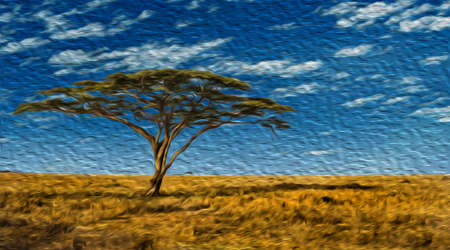 Leafy tree in the flat prairie forming a very recurrent landscape in the Serengeti Park. A conservation area in the African savanna where several species of large mammals live. Oil paint filter. Stok Fotoğraf