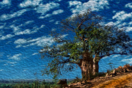 Huge baobab tree beside dirt road in the flat landscape of Serengeti National Park. A conservation area in the African savanna where several species of large mammals live. Oil paint filter. Stok Fotoğraf
