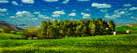 Bucolic rural landscape with grove on green fields in a sunny day at the Way of St. James. A famous pilgrimage route leading to Santiago de Compostela in northern Spain. Oil paint filter. 写真素材
