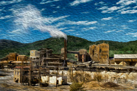 Old industrial plant with chimney in the middle of forest on the Way of St. James. A famous pilgrimage route leading to Santiago de Compostela in northern Spain. Oil paint filter. 写真素材