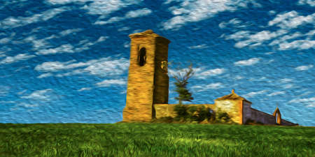 Rural landscape with belfry and walls on green field in a sunny day at the Way of St. James. A famous pilgrimage route leading to Santiago de Compostela in northern Spain. Oil paint filter.