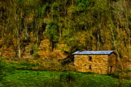 Stone rustic house in front of a forest on the Way of St. James. A famous pilgrimage route leading to Santiago de Compostela in northern Spain. Oil paint filter. 写真素材
