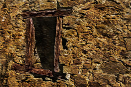 Stone wall with wooden window in facade of old house at the Way of St. James. A famous pilgrimage route leading to Santiago de Compostela in northern Spain. Oil paint filter.