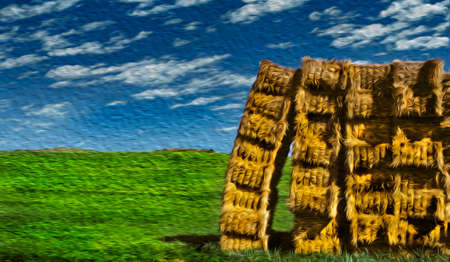 Bucolic rural landscape with colorful hay bales piled up on green field at the Way of St. James. A famous pilgrimage route leading to Santiago de Compostela in northern Spain. Oil paint filter. 写真素材