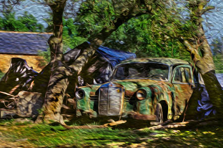 Rusty and dilapidated vintage car abandoned in the backyard of a country house at the Way of St. James. A famous pilgrimage route leading to Santiago de Compostela in northern Spain. Oil paint filter. 写真素材