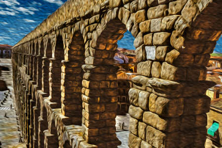 The Roman Aqueduct of Segovia, one of the best-preserved elevated ancient aqueducts and the foremost symbol of Segovia. An ancient city full of medieval structures in central Spain. Oil paint filter.