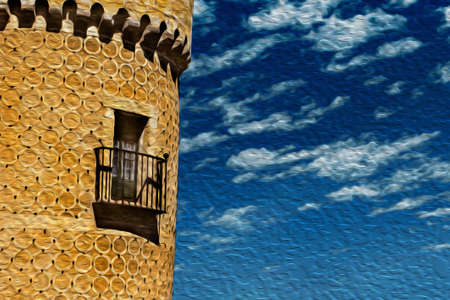 Detail of balcony and door on tower with quaint decoration, in a sunny day at the Alcazar of Segovia. An ancient city full of medieval structures in central Spain. Oil paint filter.