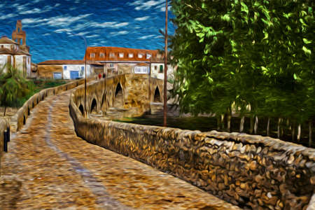 Pathway over gothic stone bridge at Hospital de Orbigo. A historical village on the Way of St. James, a famous pilgrimage route leading to Santiago de Compostela in northern Spain. Oil paint filter.