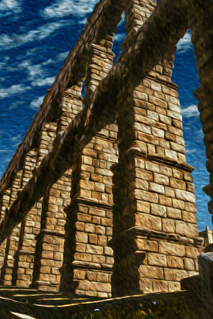 Roman Aqueduct of Segovia, one of the best-preserved elevated ancient aqueducts and the foremost symbol of Segovia. An ancient city full of medieval structures in central Spain. Oil paint filter.
