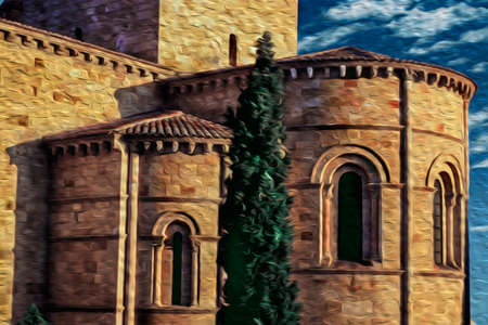 Stone round walls on the back of the Saint Vincent Basilica at sunset in Avila. It has the longest and imposing wall completely encircling this well-kept gothic town in Spain. Oil paint filter.