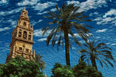 Bell tower from Court of Oranges at the Great Mosque in the historic center of Cordoba. A medieval town with huge muslim cultural influence in the Andalusia region, southern Spain. Oil paint filter.