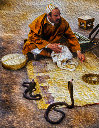 Marrakech, Morocco - May 16, 1997. Snake-charmer in typical clothes dangerously near poisonous snakes in Marrakech. The exotic city at the Atlas Mountains foothill in Morocco. Oil paint filter. Stok Fotoğraf