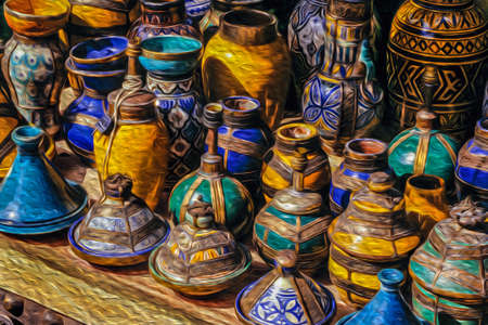 Colorful handmade ceramic pots and pans typical of the moorish culture in the medina of Marrakesh. The exotic city at the Atlas Mountain range foothill in southern Morocco. Oil paint filter. Stok Fotoğraf