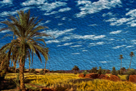 Agricultural fields and palm trees in a hilly landscape near Ouarzazate. Mainly inhabited by Berber speakers this Moroccan town is known as the desert door. Oil paint filter.