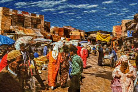 Marrakesh, Morocco - May 16, 1997. Medina with people shopping among stalls, in a chaos of colors and aromas in Marrakesh. The exotic city at the Atlas Mountains foothill in Morocco. Oil paint filter.
