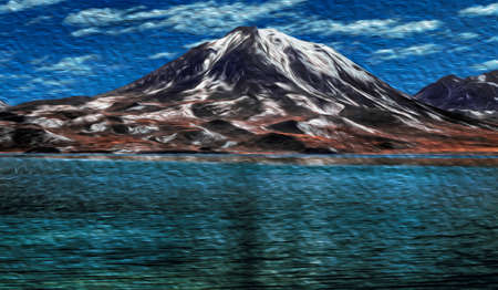 Crystal lake in front peaks and volcanoes on desert landscape near San Pedro de Atacama. A cute tourist village on the Andean highland in northern Chile. Oil paint filter.