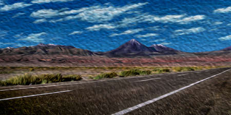 Road passing through desert landscape with peaks and volcanoes in the horizon near San Pedro de Atacama. A cute tourist village on the Andean highland in northern Chile. Oil paint filter.