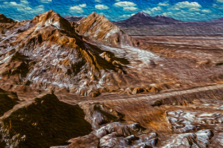 Desert landscape with peaks and salt over the terrain from the Death Valley, near San Pedro de Atacama. A cute tourist village in the middle of the Andean highland in northern Chile. Oil paint filter.