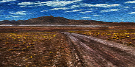 Road passing through desert landscape with peaks in the horizon at the Andean highland of Bolivia. The highest region with the largest mountain range in the Americas. Oil paint filter. 写真素材