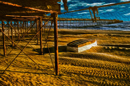 Overturned boat hull on the beach with long rusty pier heading to the sea in Pacasmayo. A cute seaside tourist town north of Lima, in Peru. Oil paint filter. 写真素材