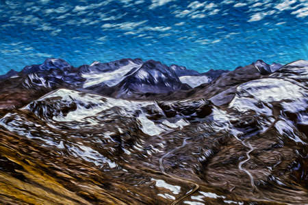 Rocks and snow on peaks summit in the middle of Cordillera Real mountain range. A large mountain region near La Paz, on the Andean highland of Bolivia. Oil paint filter.