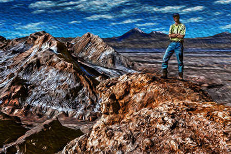 Man on desert landscape with peaks and salt over the terrain from the Death Valley, near San Pedro de Atacama. A cute tourist village at the Andean highlands in northern Chile. Oil paint filter. 写真素材