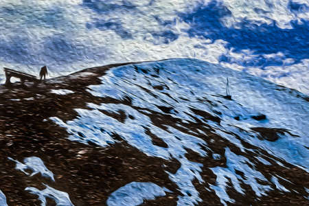 Rocks and snow on the Chacaltaya Peak summit in the middle of Cordillera Real mountain range. A large mountain region near La Paz, on the Andean highland of Bolivia. Oil paint filter. 写真素材