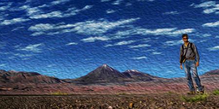 San Pedro de Atacama, Chile - July 20, 2002. Man on road in a desert landscape with peaks and volcano near San Pedro de Atacama. A cute tourist village on the Andean highland. Oil paint filter.