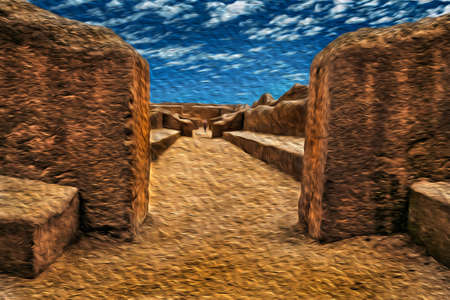 Lima, Peru - July 28, 2002. Passageway through ruins of mud walls in the archaeological site of Chan Chan. The capital of pre-Inca Chimu civilization, north of Lima in Peru. Oil paint filter.