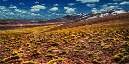 Desert landscape with peaks and volcanoes in the horizon near San Pedro de Atacama. A cute tourist village on the Andean highland in northern Chile. Oil paint filter.
