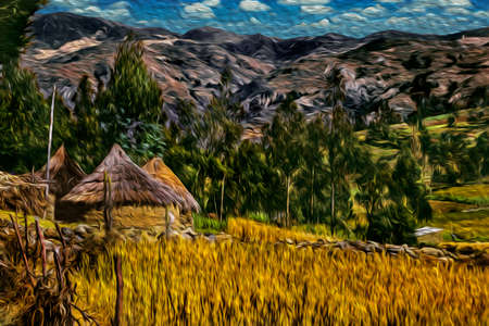 Huts with thatched roof among cultivated fields and mountain landscape in a valley near Huaraz. A cute countryside village north of Lima in the middle of the Peruvian Andes. Oil paint filter. 写真素材