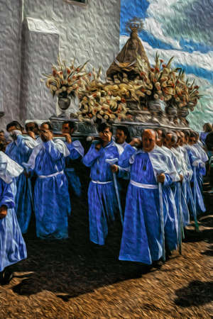 Caceres, Spain - May 04, 1997. Religious procession with devotees carrying the statue of Our Lady in a catholic sanctuary near Caceres. A town with a medieval city center in Spain. Oil paint filter.