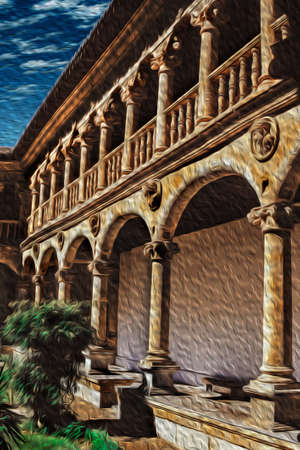 Columns and arches in central courtyard of a cloister in a gothic monastery of Salamanca. This lovely medieval town is one of the most important university cities in Spain. Oil paint filter.