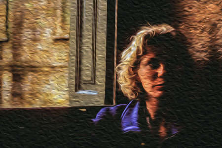 Santiago de Compostela, Spain - April 20, 1997. Face of a blonde woman beside an open window with dramatic light in an old house of Spain. Oil paint filter.