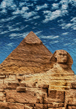 Stunning view of Giza pyramids complex with the great Sphinx. Located southwest of Cairo, this ancient Egyptian wonder is one of the world biggest tourist attractions. Oil paint filter.