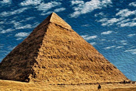 Stunning view of Giza pyramids complex, an old necropolis for pharaohs. Located southwest of Cairo, this ancient Egyptian wonder is one of the world biggest tourist attractions. Oil paint filter. 写真素材