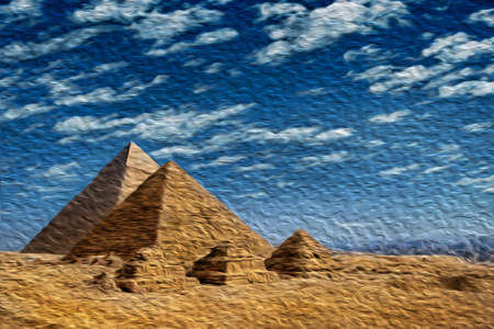 Giza, Egypt - February 13, 1997. Giza pyramids complex, an old necropolis for pharaohs. Near Cairo, this ancient Egyptian wonder is one of the world biggest tourist attractions. Oil paint filter.
