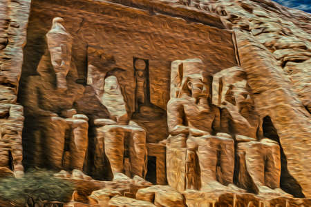 Abu Simbel, Egypt - February 19, 1997. Statues of pharaoh Ramses II carved into rock at the Abu Simbel Temple. An archaeological complex on the lake shore of Aswan dam. Oil paint filter. Banco de Imagens