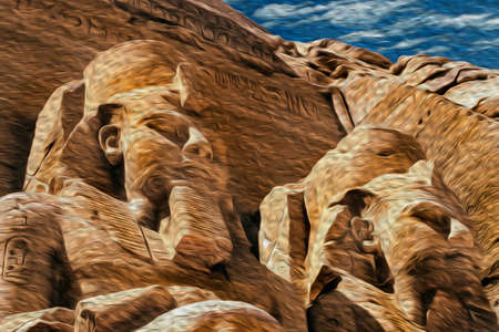 Colossal statues of pharaoh Ramses II carved into rock by the ancient Egyptians in the Abu Simbel Temple. An archaeological complex on the lake shore of Aswan dam in southern Egypt. Oil paint filter.