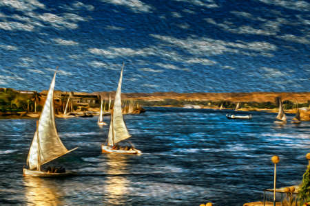 Traditional sailing boats called felucca sailing the Nile River. The longest watercourse on earth that crosses Egypt from south to north. Oil paint filter. 写真素材